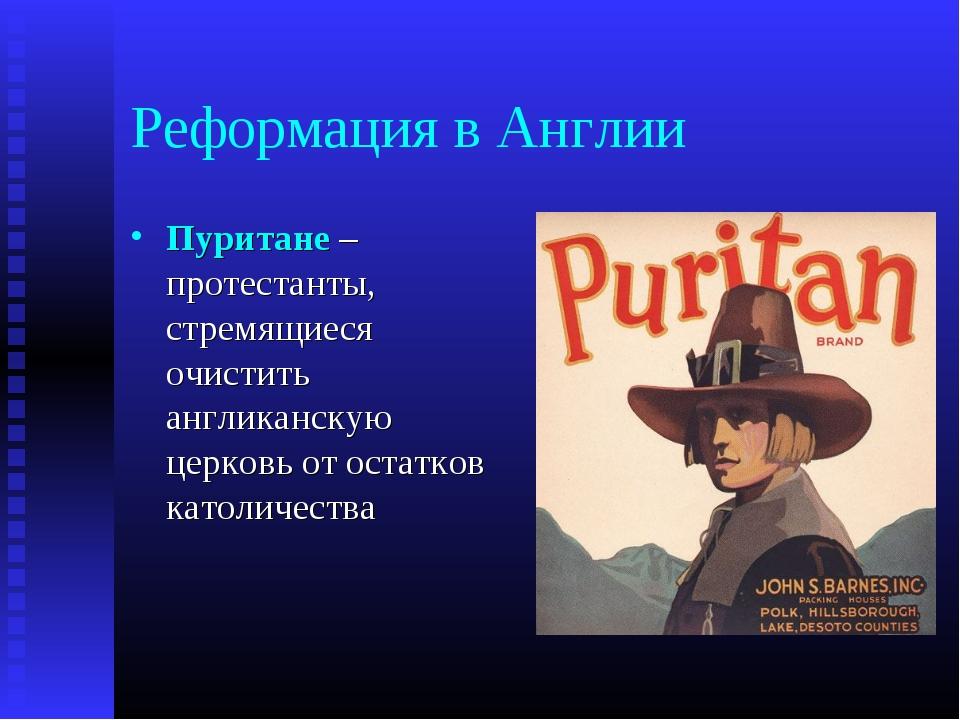 Реформация в Англии Пуритане – протестанты, стремящиеся очистить англиканскую...