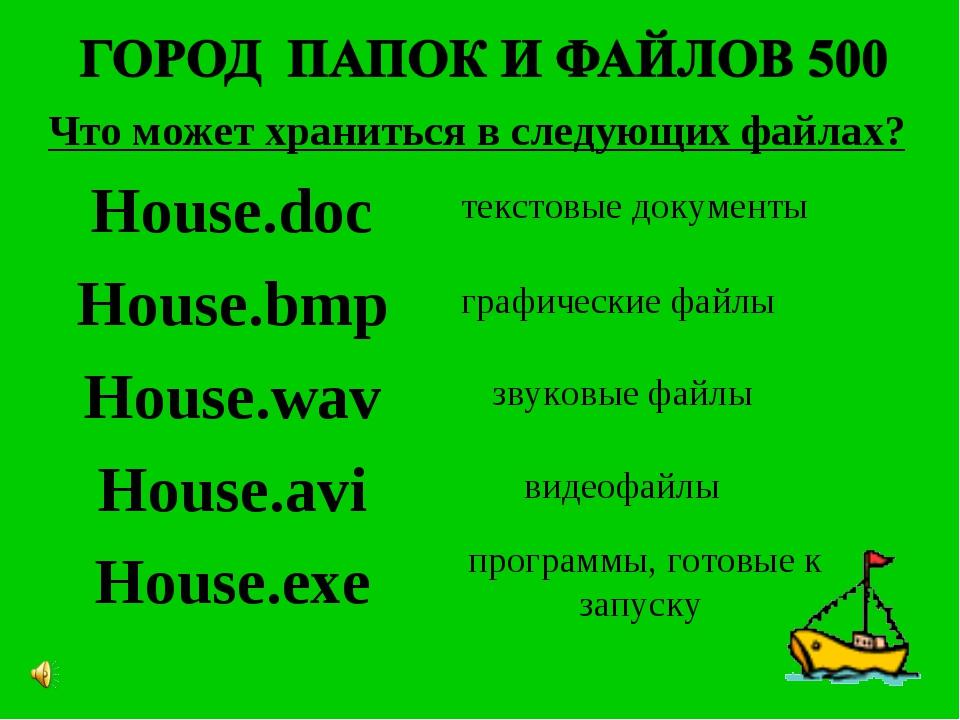 Что может храниться в следующих файлах? House.doc House.bmp House.wav House.a...