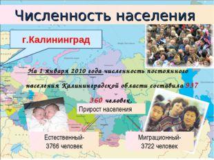 На 1 января 2010 года численность постоянного населения Калининградской облас