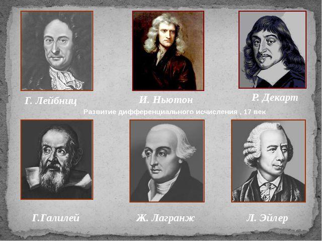 Г. Лейбниц И. Ньютон Р. Декарт Г.Галилей Ж. Лагранж Л. Эйлер Развитие диффер...
