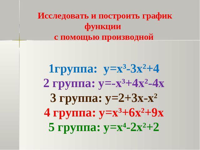 Исследовать и построить график функции с помощью производной 1группа: у=х3-3...