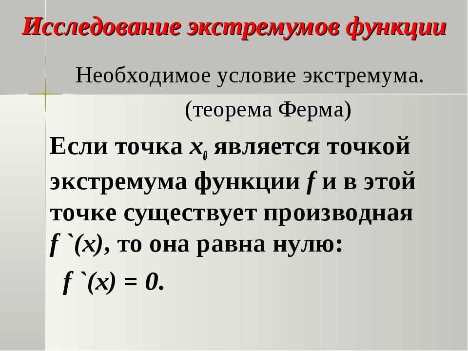 Исследование экстремумов функции Необходимое условие экстремума. (теорема Фер...