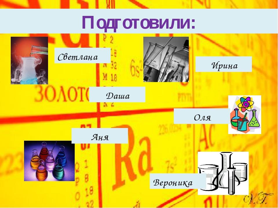 Подготовили: Светлана Даша Вероника Оля Аня Ирина