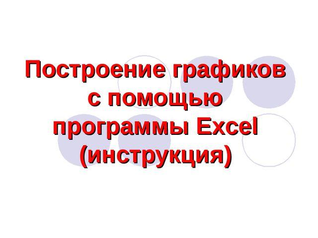 Построение графиков с помощью программы Excel (инструкция)