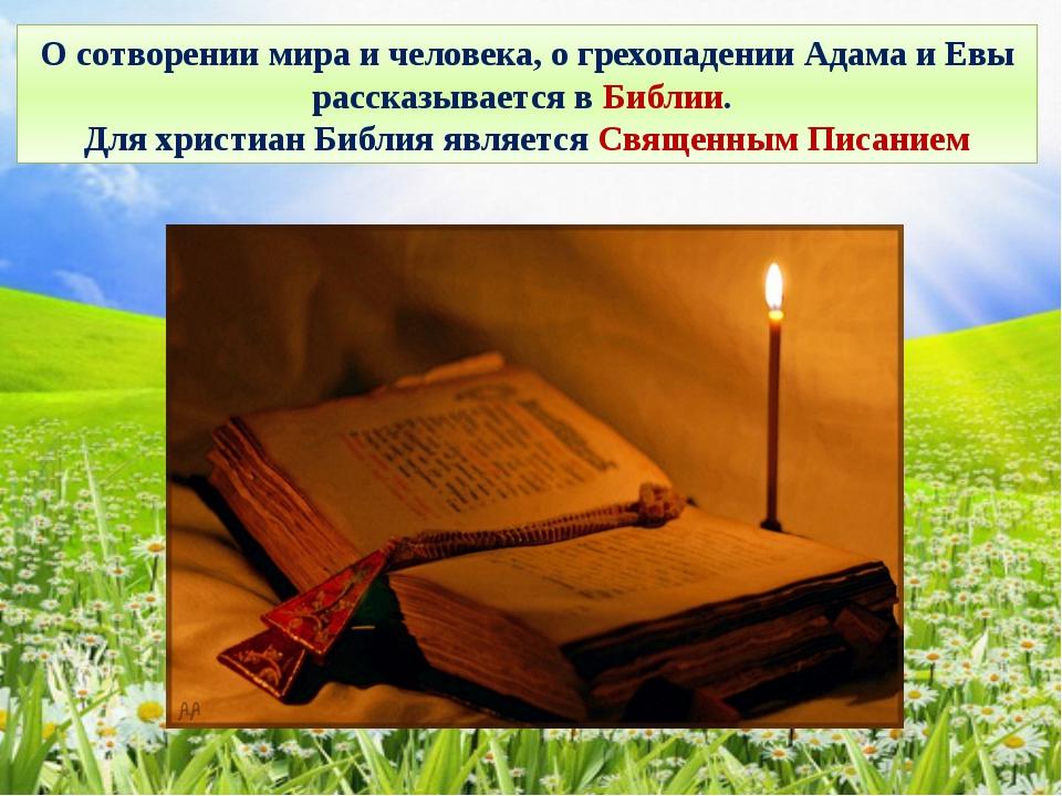 О сотворении мира и человека, о грехопадении Адама и Евы рассказывается в Биб...