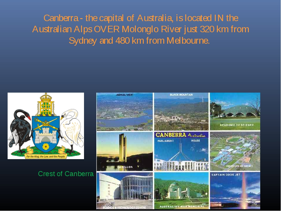 Canberra - the capital of Australia, is located IN the Australian Alps OVER M...