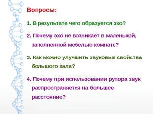 Вопросы: 1. В результате чего образуется эхо? 2. Почему эхо не возникает в ма