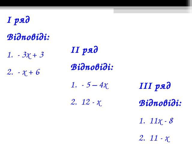 І ряд Відповіді: 1. - 3х + 3 2. - х + 6 ІІ ряд Відповіді: 1. - 5 – 4х 2. 12 -...