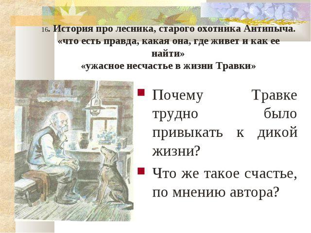 16. История про лесника, старого охотника Антипыча. «что есть правда, какая о...