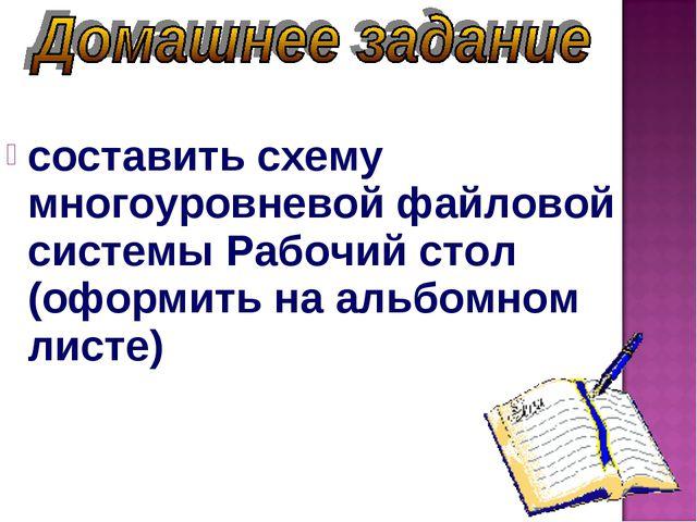 составить схему многоуровневой файловой системы Рабочий стол (оформить на ал...