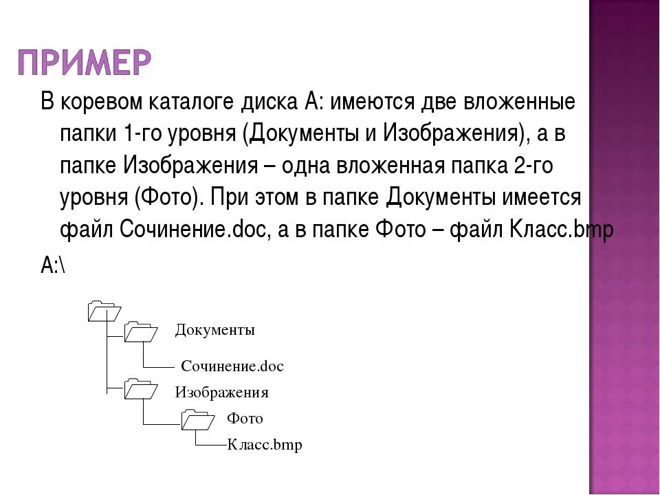 В коревом каталоге диска А: имеются две вложенные папки 1-го уровня (Документ...