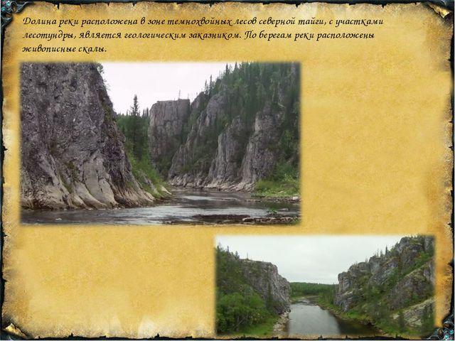 Долина реки расположена в зоне темнохвойных лесов северной тайги, с участками...