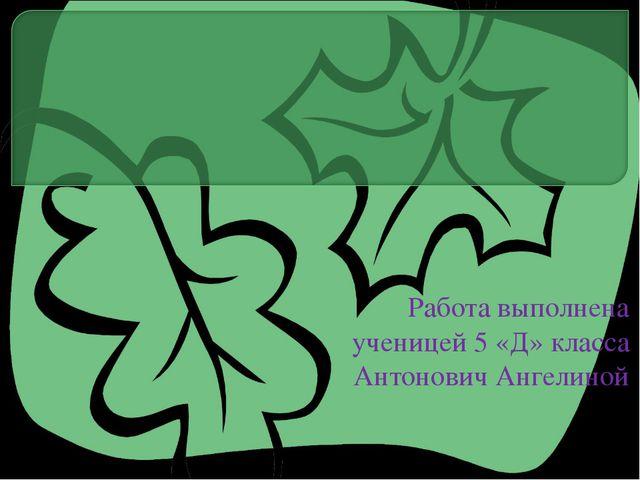 Работа выполнена ученицей 5 «Д» класса Антонович Ангелиной