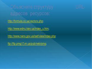Объясните структуру URL-адресов ресурсов: http://formula.co.ua/vectors.php; h
