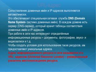 URL-адрес Сопоставление доменных имён и IP-адресов выполняется автоматически.