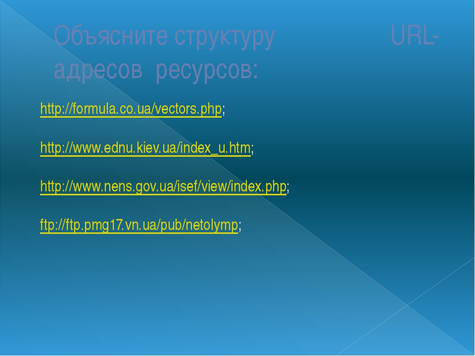 Объясните структуру URL-адресов ресурсов: http://formula.co.ua/vectors.php; h...