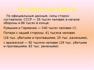 Интересные факты По официальным данным, силы сторон составляли: СССР — 35 тыс