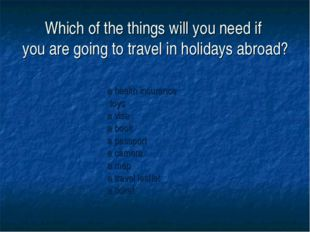 Which of the things will you need if you are going to travel in holidays abro
