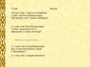 СұрақЖауап 1Нұрсұлтан Әбішұлы Назарбаев Қазақстан Республикасының Президенті