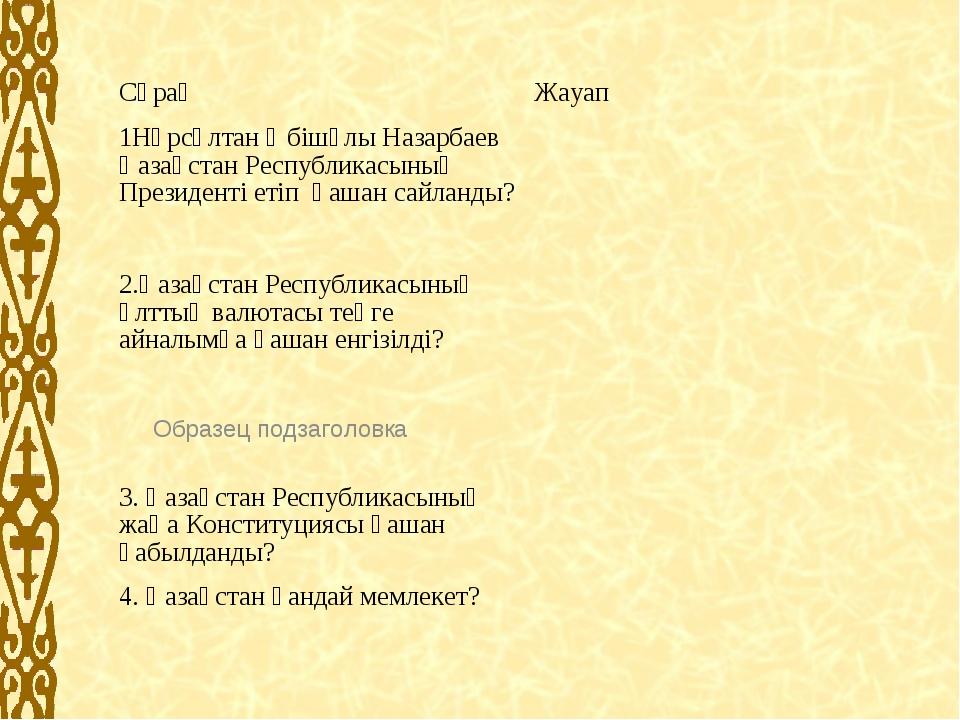 СұрақЖауап 1Нұрсұлтан Әбішұлы Назарбаев Қазақстан Республикасының Президенті...