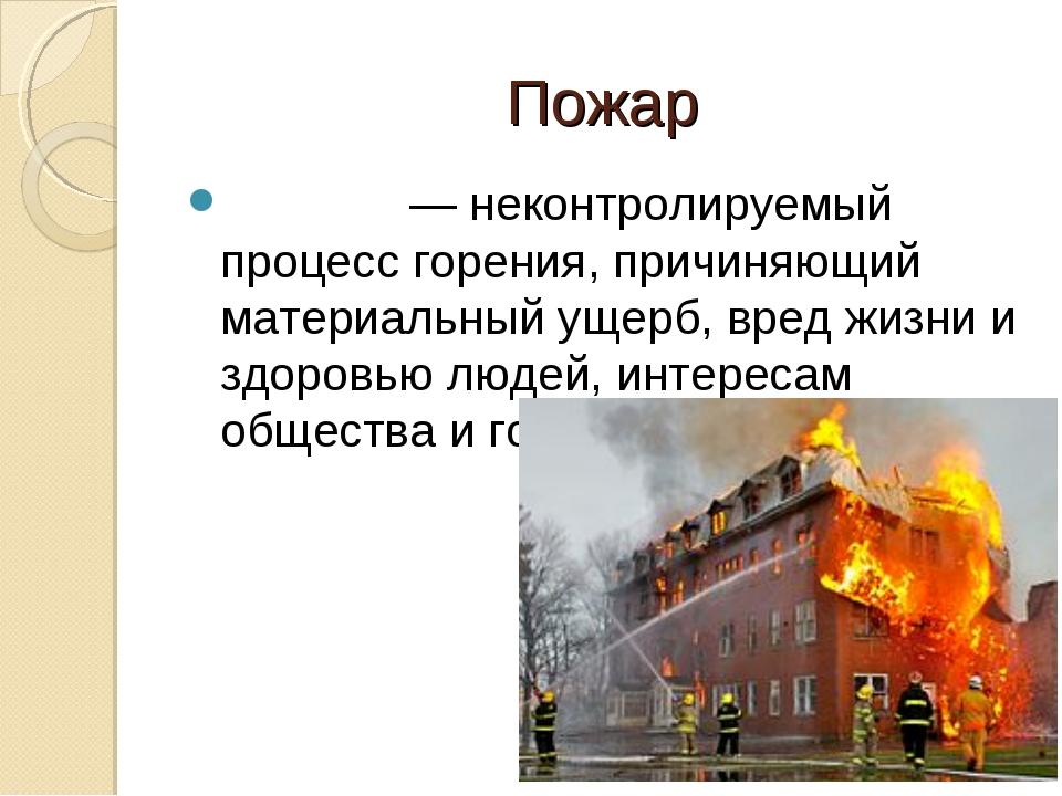Пожар Пожа́р— неконтролируемый процессгорения, причиняющий материальный уще...