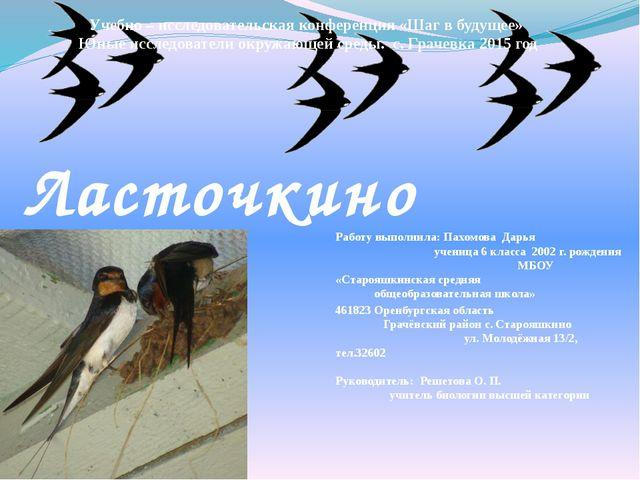 Работу выполнила: Пахомова Дарья ученица 6 класса 2002 г. рождения МБОУ «Ста...