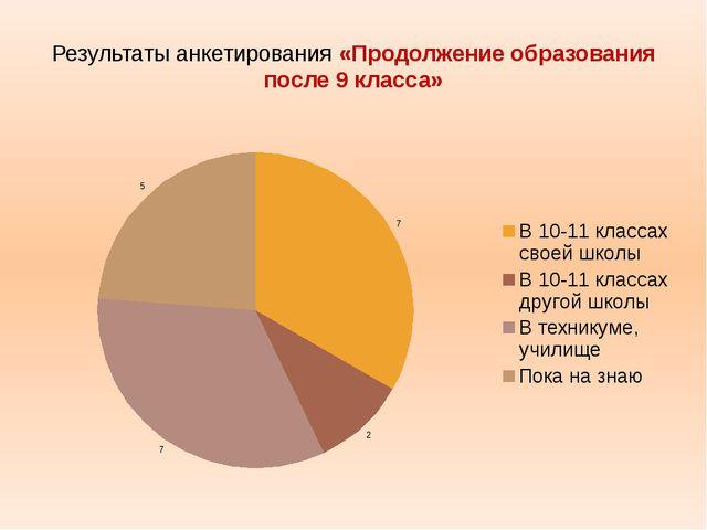 Результаты анкетирования «Продолжение образования после 9 класса»