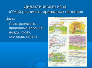 Дидактическая игра «Умей различать природные явления» Цель: Учить различать п