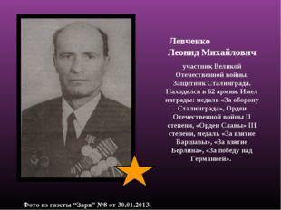 Левченко Леонид Михайлович участник Великой Отечественной войны. Защитник Ст
