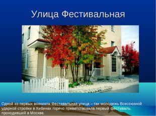 Улица Фестивальная Одной из первых возникла Фестивальная улица – так молодежь