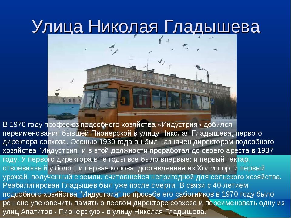 Улица Николая Гладышева В 1970 году профсоюз подсобного хозяйства «Индустрия»...