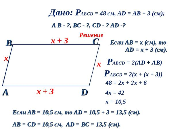 Дано: РАВСD = 48 см, AD = AB + 3 (см); A B - ?, ВC - ?, CD - ? AD -? Решение...