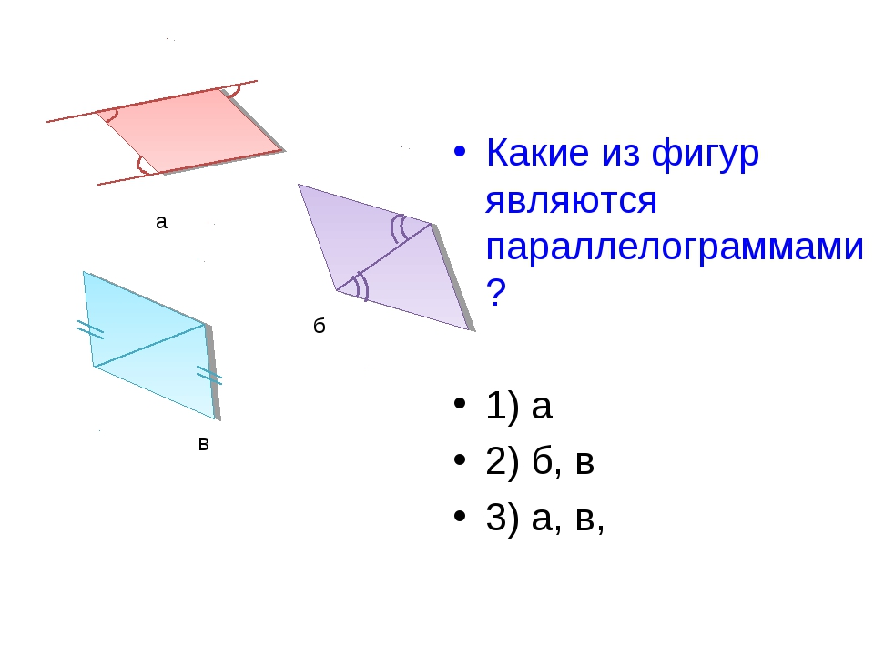 Какие из фигур являются параллелограммами? 1) а 2) б, в 3) а, в, а б в