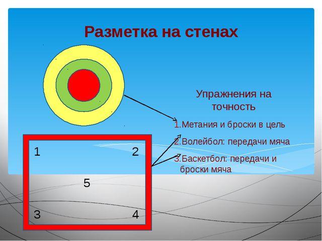 Разметка на стенах Упражнения на точность Метания и броски в цель Волейбол: п...