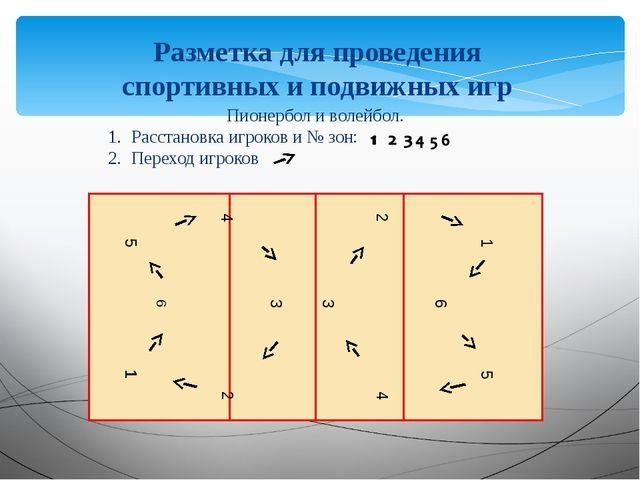 Разметка для проведения спортивных и подвижных игр 1 6 5 4 3 2 5 6 1 2 3 4 Пи...