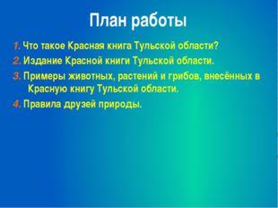 План работы 1. Что такое Красная книга Тульской области? 2. Издание Красной к