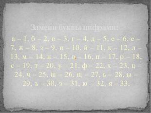 а – 1, б – 2, в – 3, г – 4, д – 5, е – 6, е – 7, ж – 8, з – 9, и – 10, й – 11