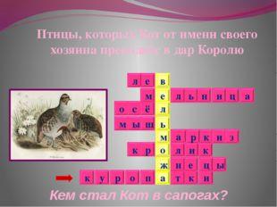 Кем стал Кот в сапогах? Птицы, которых Кот от имени своего хозяина преподнёс