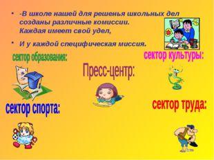 -В школе нашей для решенья школьных дел созданы различные комиссии. Каждая им