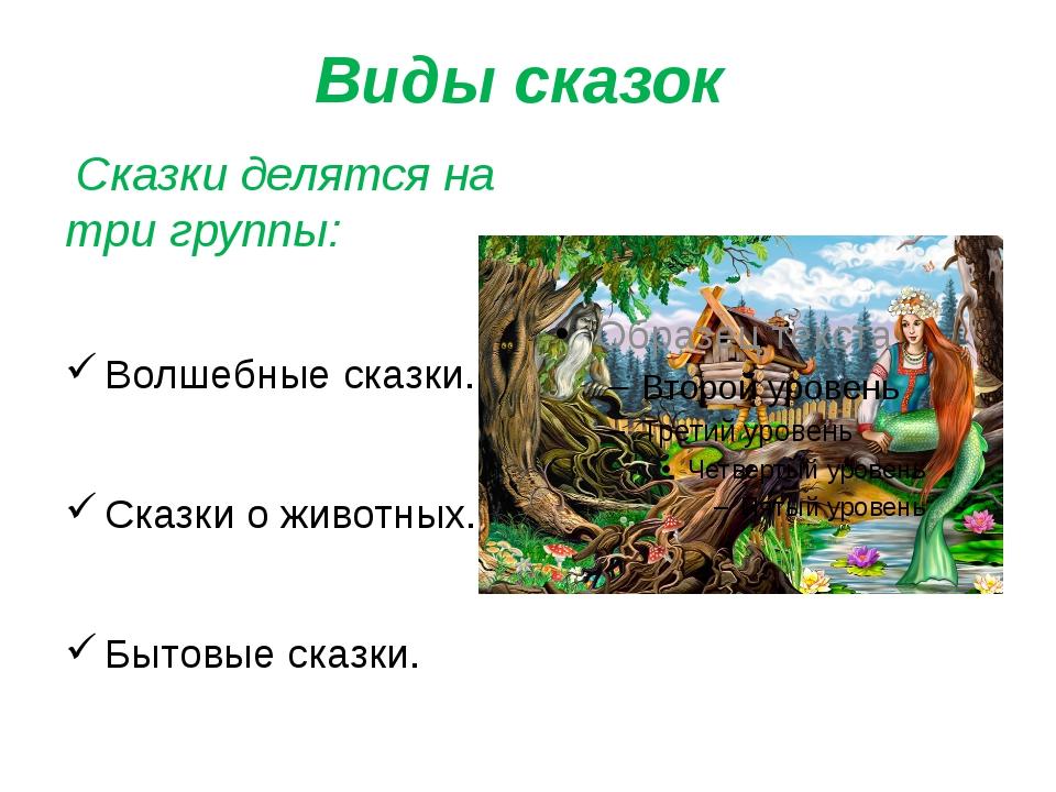 Виды сказок Сказки делятся на три группы: Волшебные сказки. Сказки о животных...