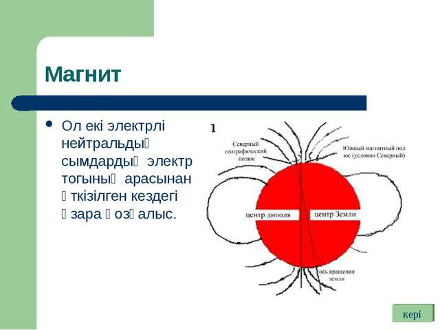 Магнит Ол екі электрлі нейтральдық сымдардың электр тогының арасынан өткізілг...
