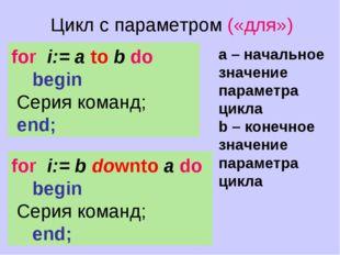 Цикл с параметром («для») for i:= b downto a do begin  Cерия команд; end; fo