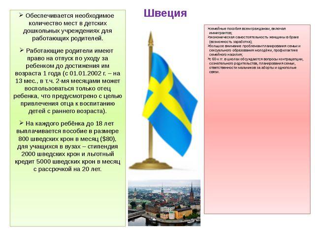 Швеция Обеспечивается необходимое количество мест в детских дошкольных учрежд...