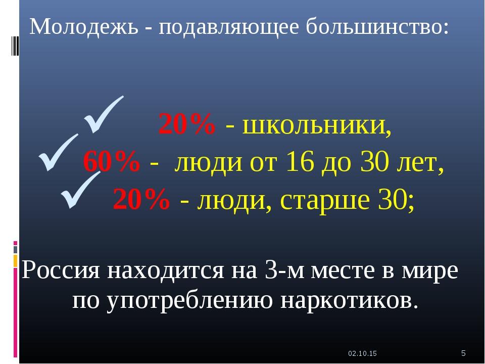 Молодежь - подавляющее большинство: 20% - школьники, 60% - люди от 16 до 30 л...