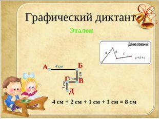 Графический диктант А Б В Г Д Эталон 4 см 2 см 1 см 1 см 4 см + 2 см + 1 см +