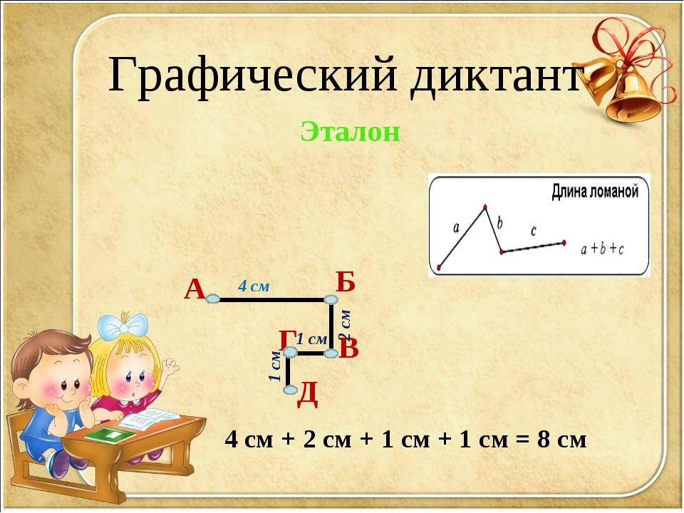 Графический диктант А Б В Г Д Эталон 4 см 2 см 1 см 1 см 4 см + 2 см + 1 см +...