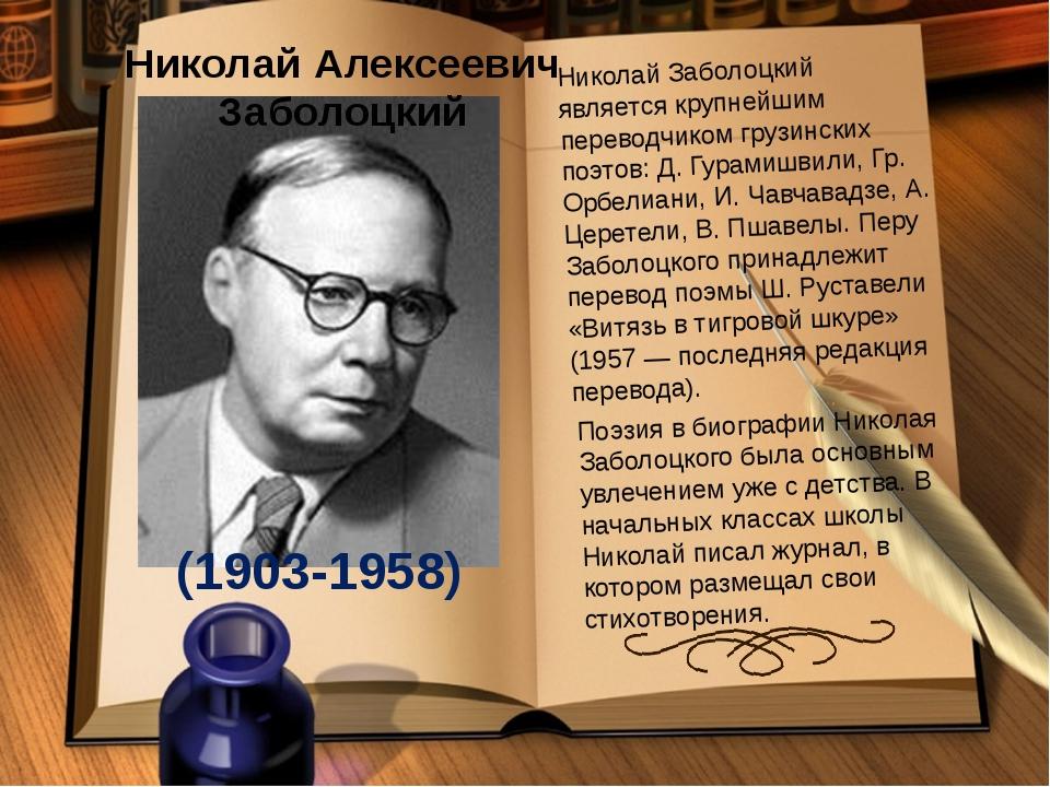 Николай Алексеевич Заболоцкий (1903-1958) Николай Заболоцкий является крупней...