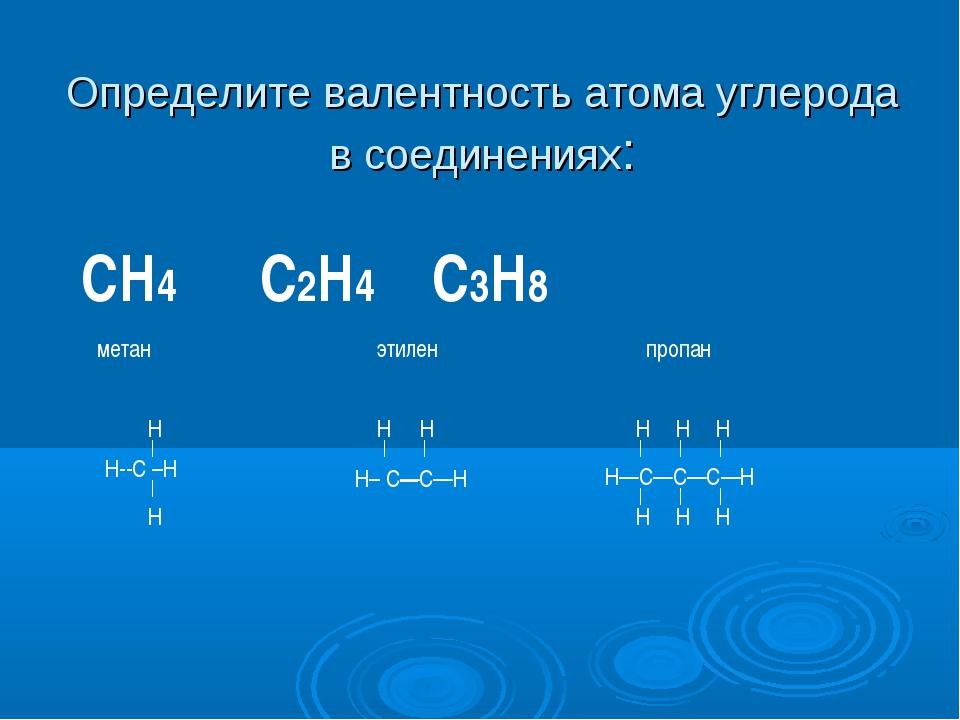 Определите валентность атома углерода в соединениях: СН4 С2Н4 С3Н8 метан этил...