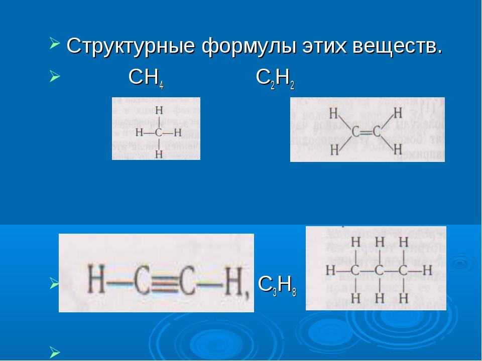Структурные формулы этих веществ. СН4 С2Н2 С2Н2 С3Н8