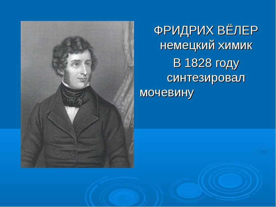 ФРИДРИХ ВЁЛЕР немецкий химик В 1828 году синтезировал мочевину